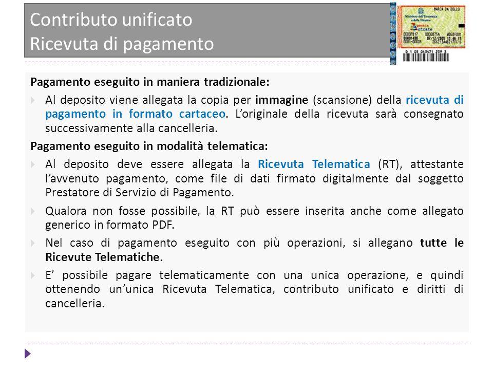 Contributo unificato Ricevuta di pagamento