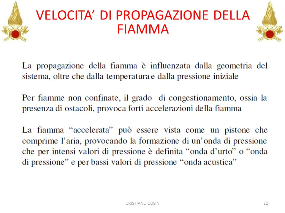 VELOCITA' DI PROPAGAZIONE DELLA FIAMMA