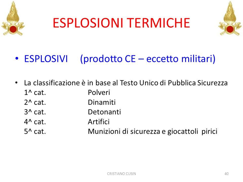 ESPLOSIONI TERMICHE ESPLOSIVI (prodotto CE – eccetto militari)