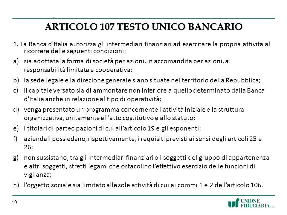 ARTICOLO 107 Testo unico bancario