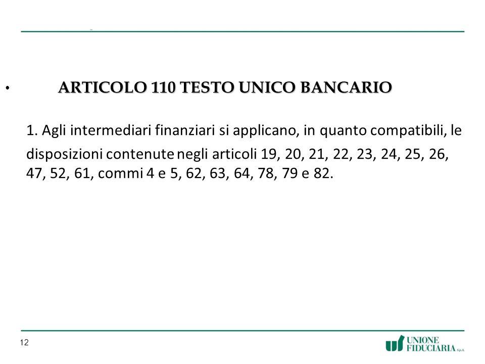 Articolo 110 TESTO UNICO BANCARIO