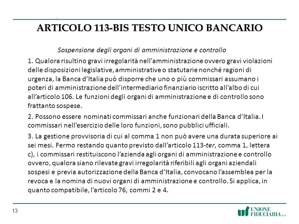 ARTICoLO 113-BIS testo unico bancario