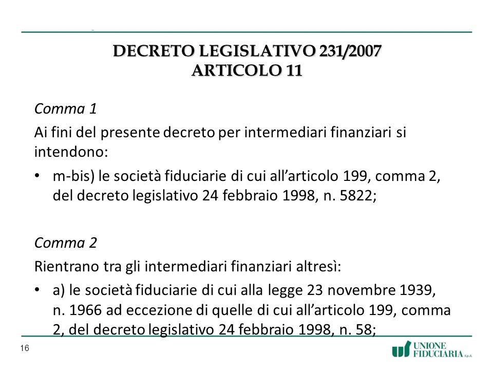 Decreto Legislativo 231/2007 Articolo 11