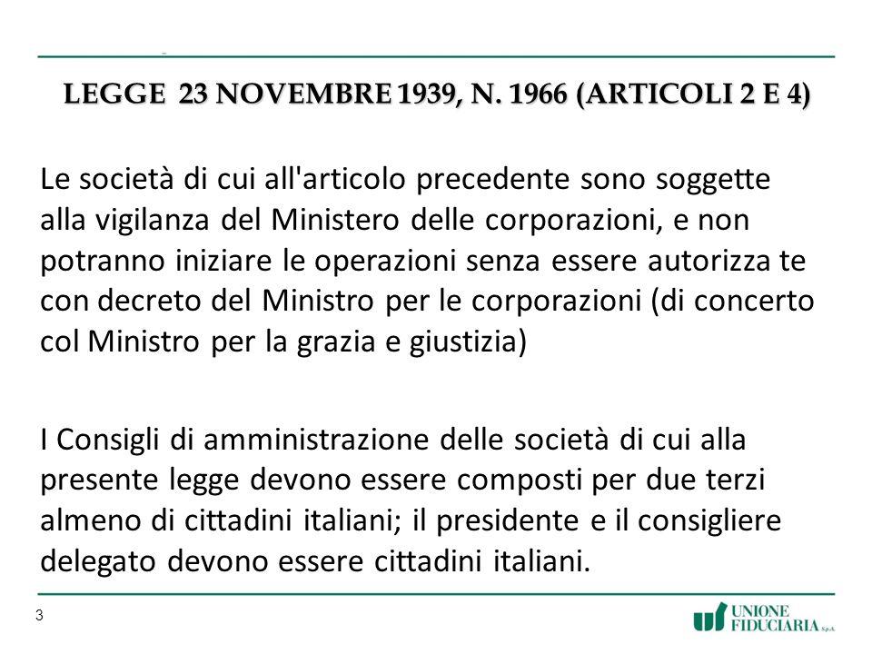 Legge 23 novembre 1939, n. 1966 (articoli 2 e 4)