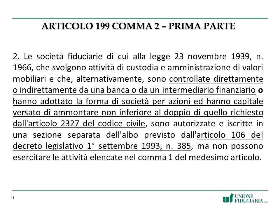 ARTICOLO 199 COMMA 2 – PRIMA PARTE