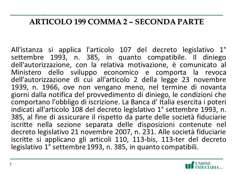 ARTICOLO 199 COMMA 2 – SECONDA PARTE