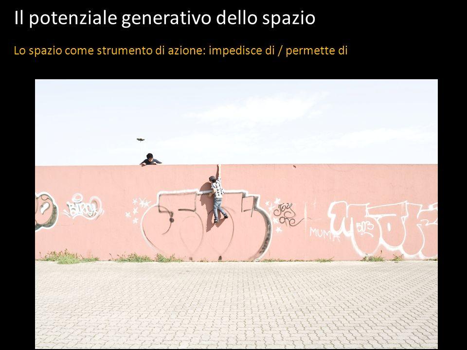 Il potenziale generativo dello spazio Lo spazio come strumento di azione: impedisce di / permette di