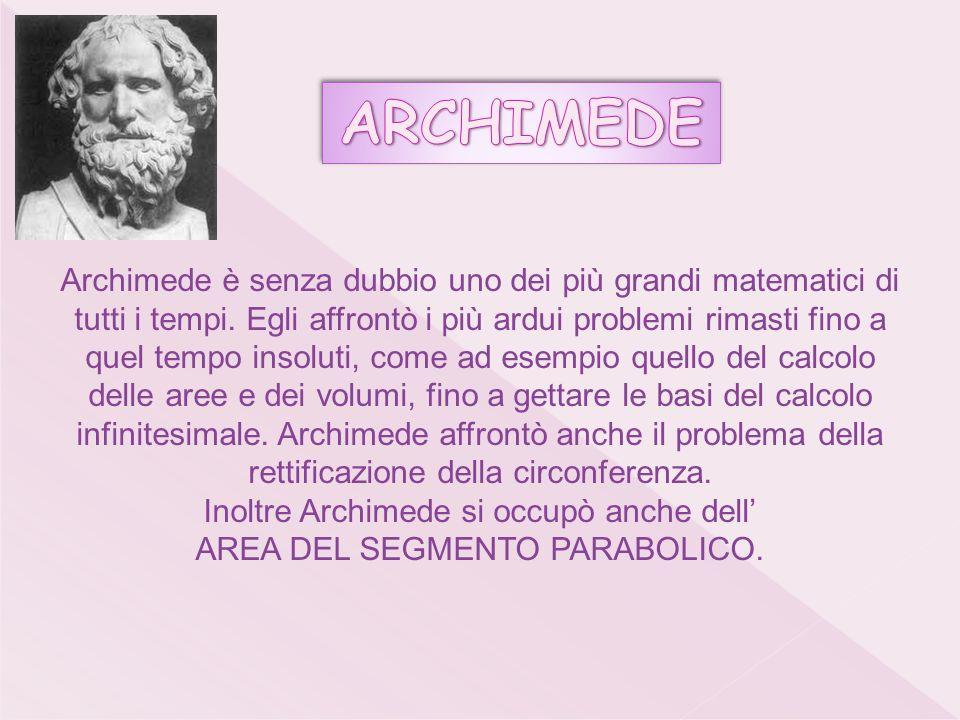 Inoltre Archimede si occupò anche dell' AREA DEL SEGMENTO PARABOLICO.