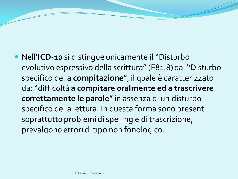 Nell'ICD-10 si distingue unicamente il Disturbo evolutivo espressivo della scrittura (F81.8) dal Disturbo specifico della compitazione , il quale è caratterizzato da: difficoltà a compitare oralmente ed a trascrivere correttamente le parole in assenza di un disturbo specifico della lettura. In questa forma sono presenti soprattutto problemi di spelling e di trascrizione, prevalgono errori di tipo non fonologico.