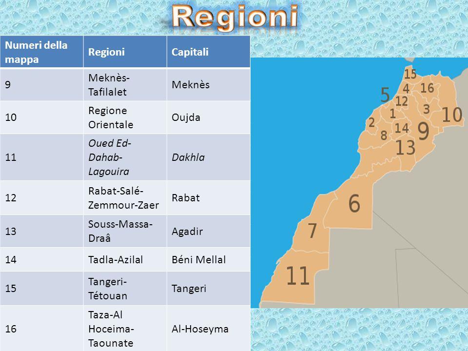 Regioni Numeri della mappa Regioni Capitali 9 Meknès-Tafilalet Meknès