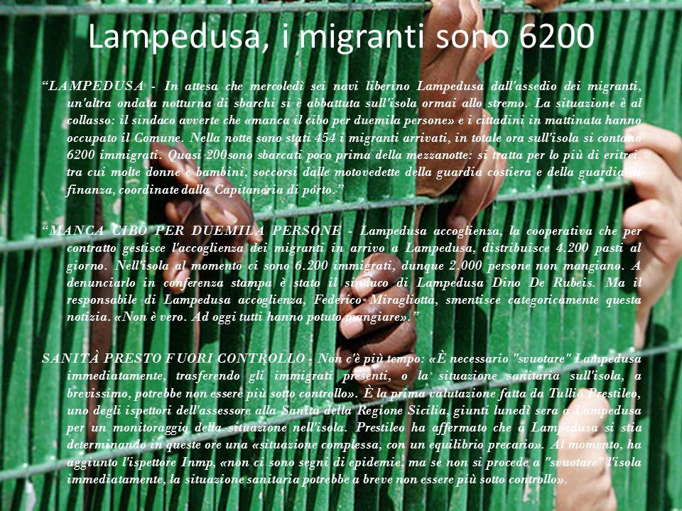 Lampedusa, i migranti sono 6200