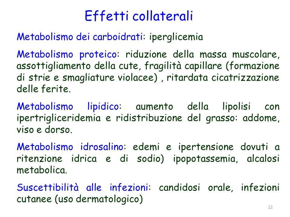 Effetti collaterali Metabolismo dei carboidrati: iperglicemia