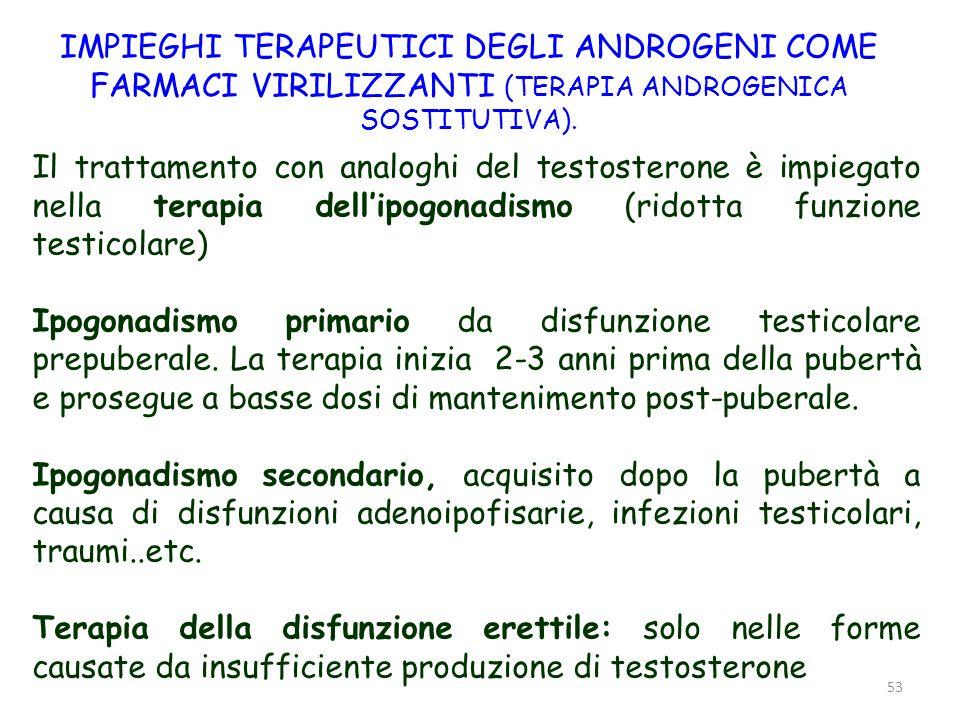 IMPIEGHI TERAPEUTICI DEGLI ANDROGENI COME FARMACI VIRILIZZANTI (TERAPIA ANDROGENICA SOSTITUTIVA).