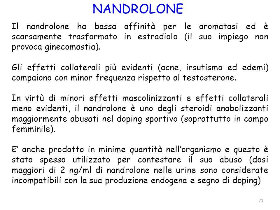 NANDROLONE Il nandrolone ha bassa affinità per le aromatasi ed è scarsamente trasformato in estradiolo (il suo impiego non provoca ginecomastia).