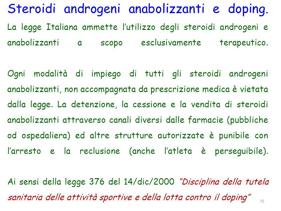 Steroidi androgeni anabolizzanti e doping