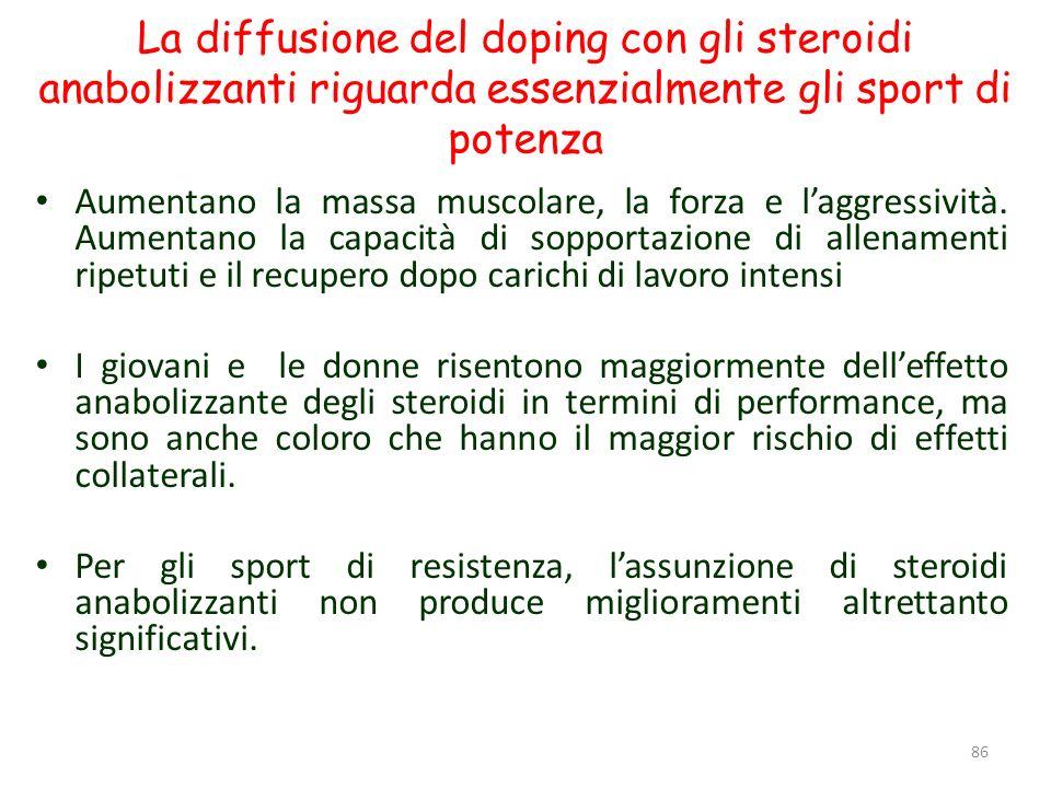 La diffusione del doping con gli steroidi anabolizzanti riguarda essenzialmente gli sport di potenza