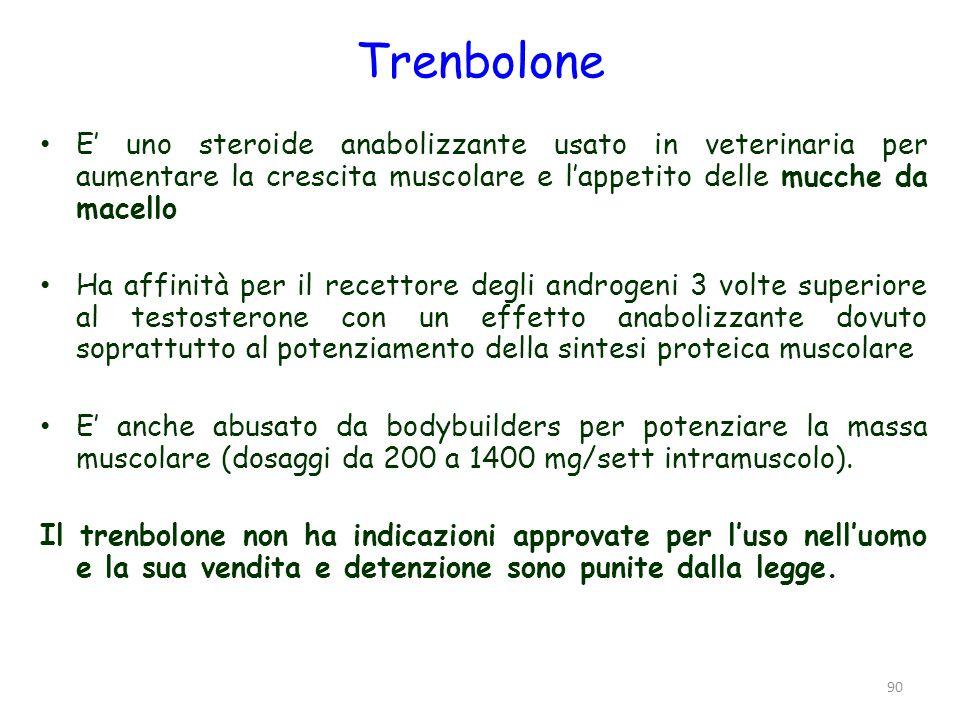 Trenbolone E' uno steroide anabolizzante usato in veterinaria per aumentare la crescita muscolare e l'appetito delle mucche da macello.