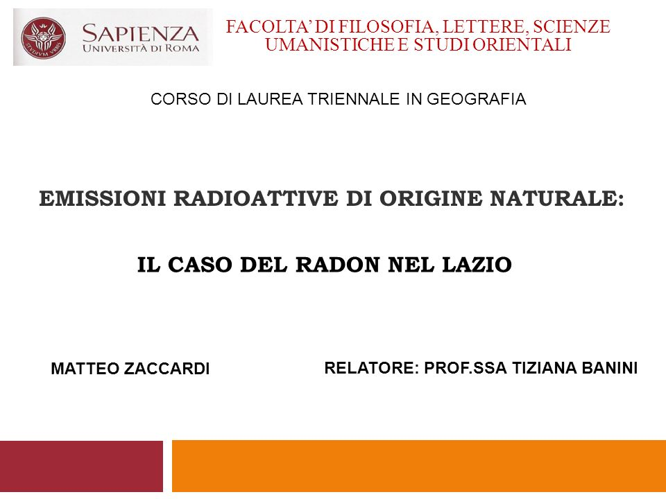 EMISSIONI RADIOATTIVE DI ORIGINE NATURALE: