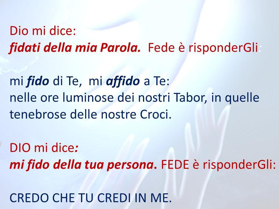 Dio mi dice:fidati della mia Parola. Fede è risponderGli: mi fido di Te, mi affido a Te: