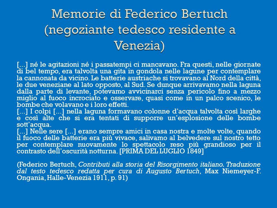 Memorie di Federico Bertuch (negoziante tedesco residente a Venezia)
