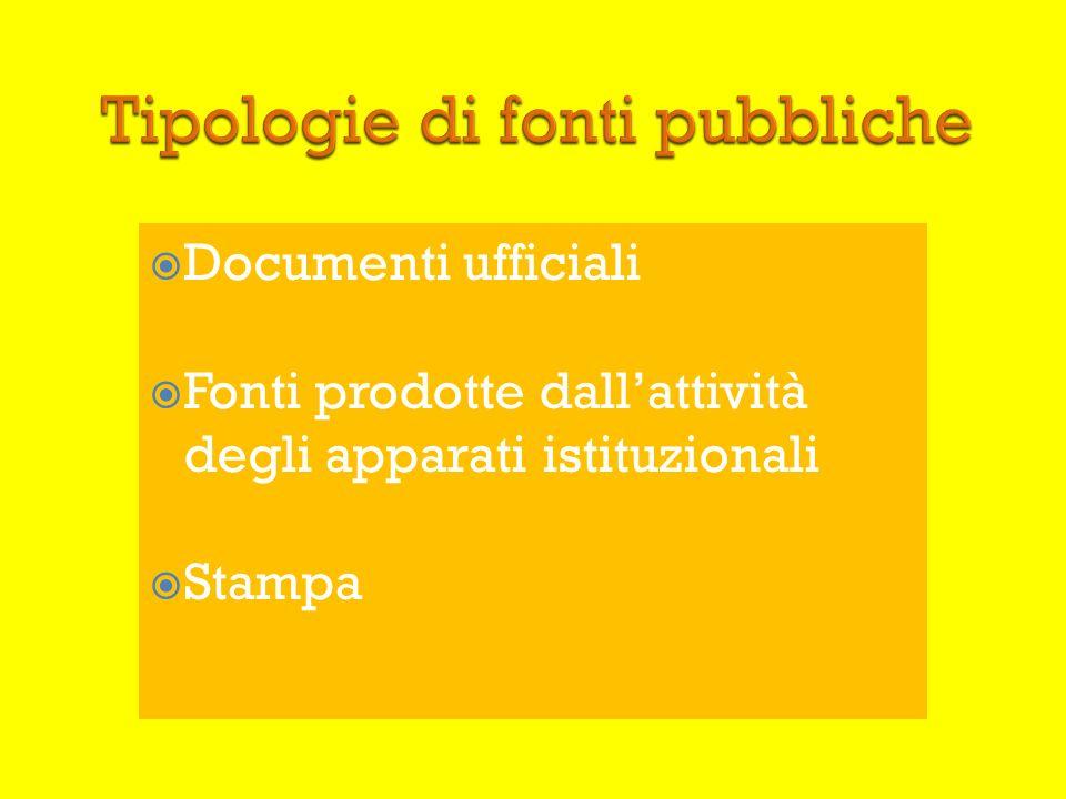 Tipologie di fonti pubbliche