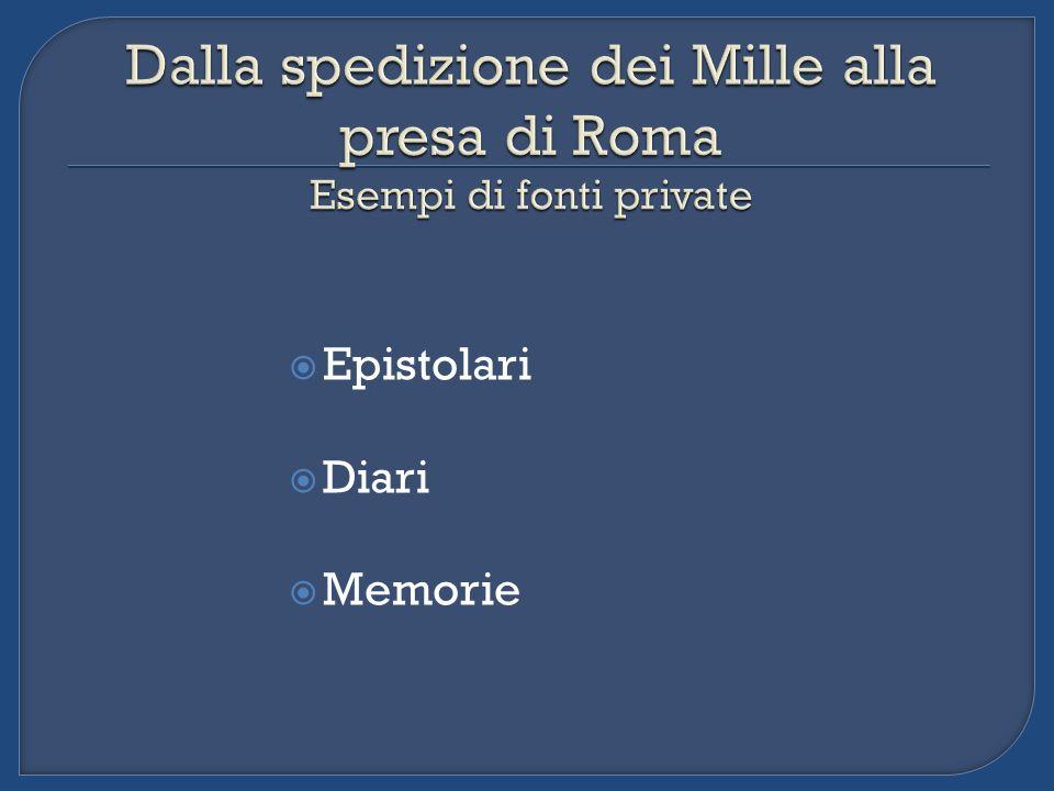 Dalla spedizione dei Mille alla presa di Roma Esempi di fonti private
