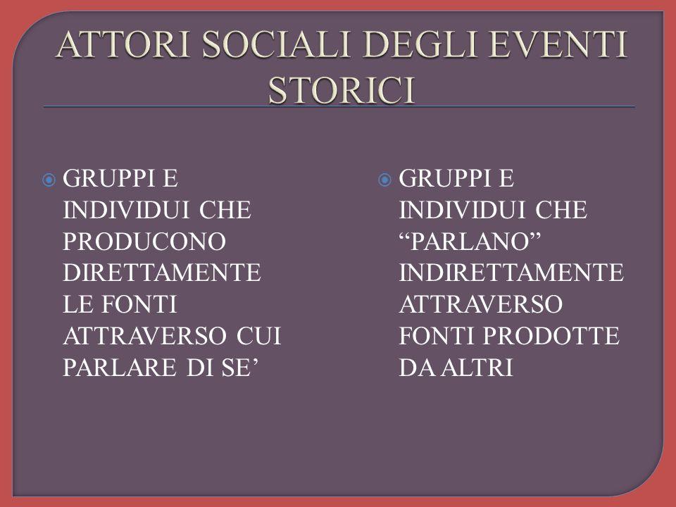 ATTORI SOCIALI DEGLI EVENTI STORICI