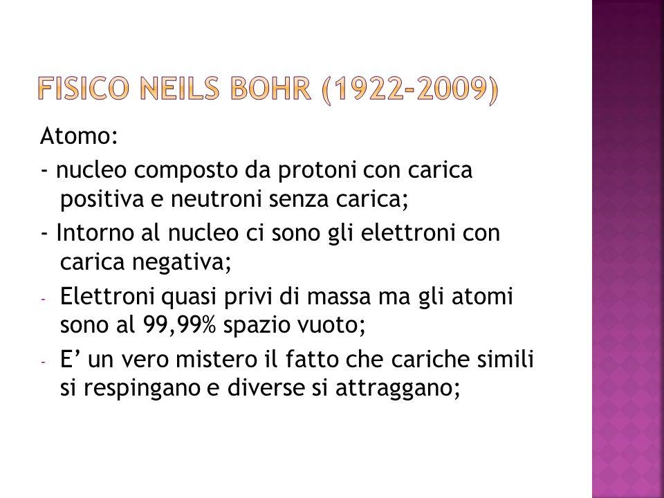 Fisico NEILS BOHR (1922-2009) Atomo: