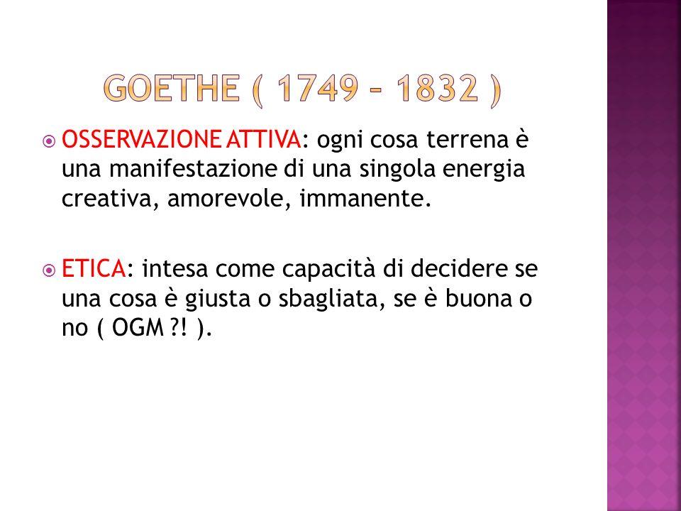 GOETHE ( 1749 – 1832 ) OSSERVAZIONE ATTIVA: ogni cosa terrena è una manifestazione di una singola energia creativa, amorevole, immanente.