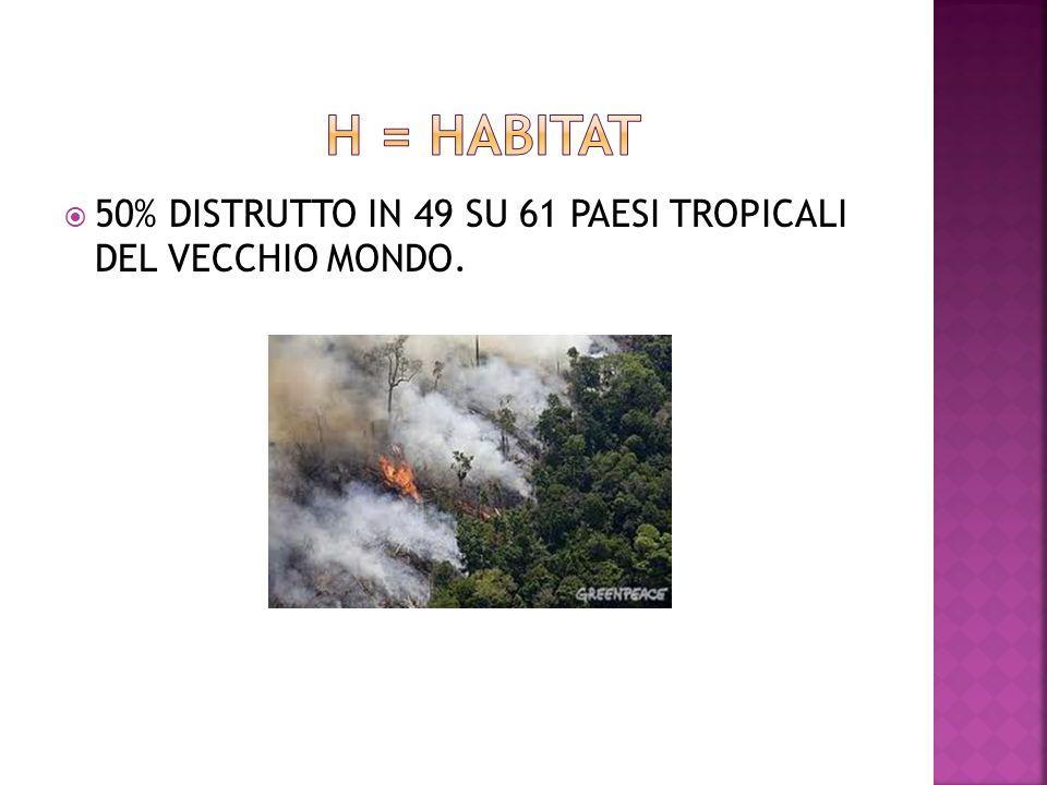 H = habitat 50% DISTRUTTO IN 49 SU 61 PAESI TROPICALI DEL VECCHIO MONDO.