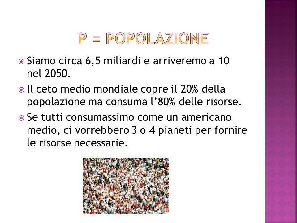 p = popolazione Siamo circa 6,5 miliardi e arriveremo a 10 nel 2050.