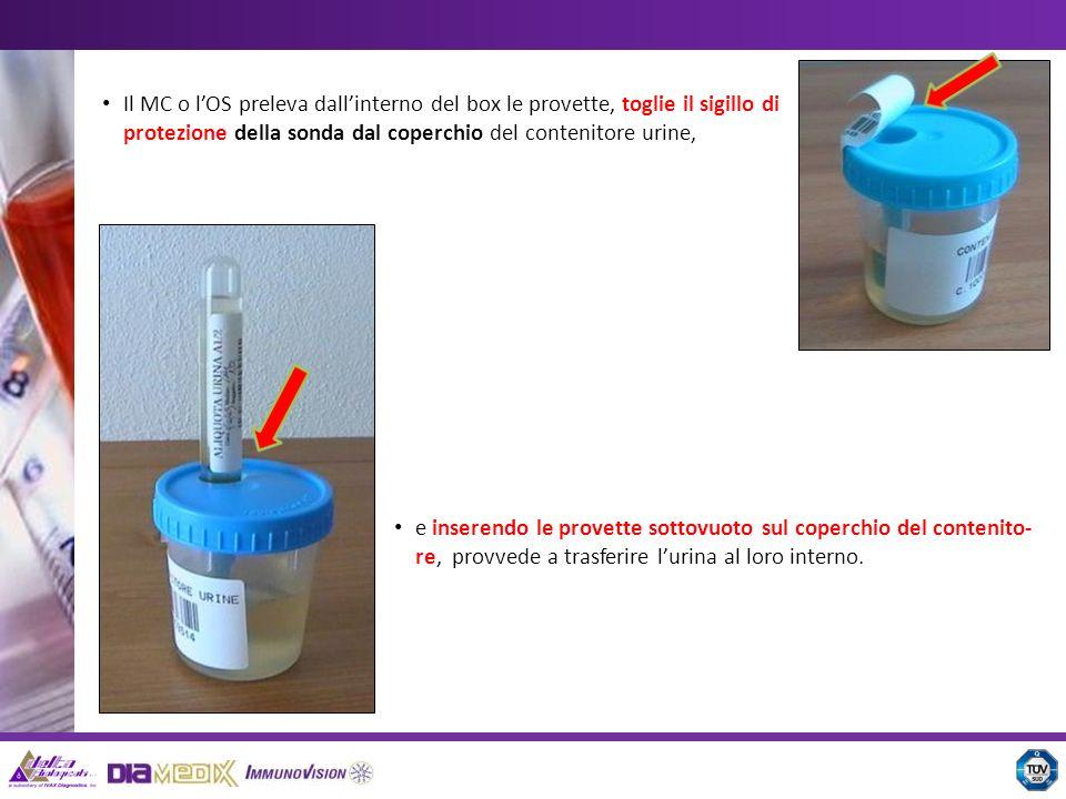 Il MC o l'OS preleva dall'interno del box le provette, toglie il sigillo di protezione della sonda dal coperchio del contenitore urine,