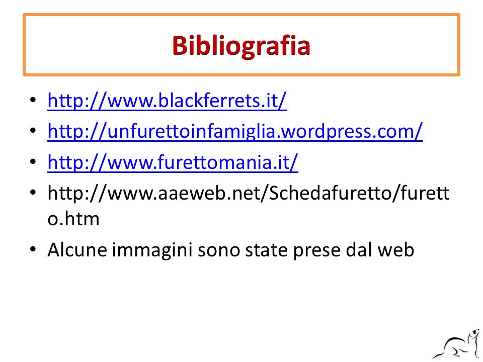 Bibliografia http://www.blackferrets.it/