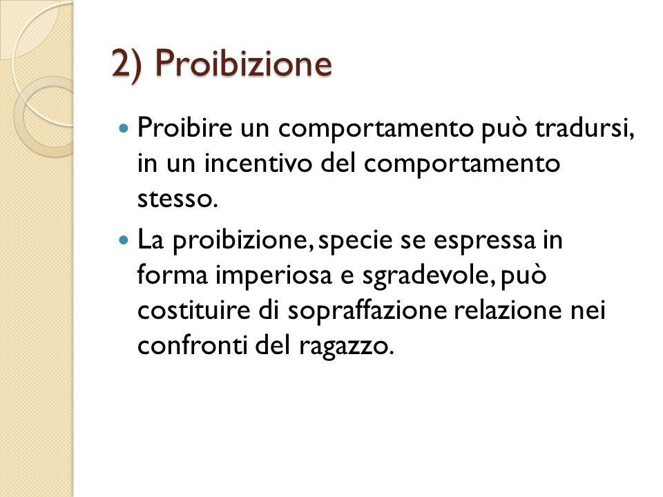 2) Proibizione Proibire un comportamento può tradursi, in un incentivo del comportamento stesso.