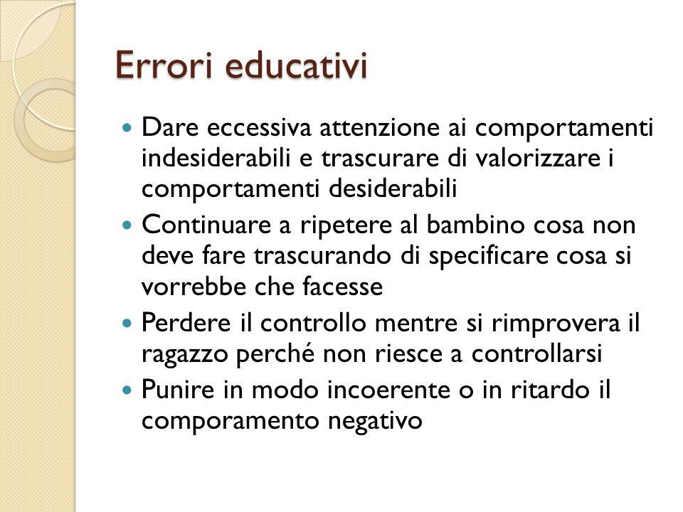 Errori educativi Dare eccessiva attenzione ai comportamenti indesiderabili e trascurare di valorizzare i comportamenti desiderabili.