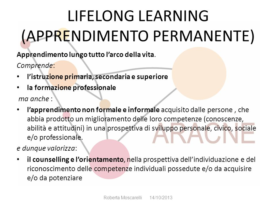 LIFELONG LEARNING (APPRENDIMENTO PERMANENTE)