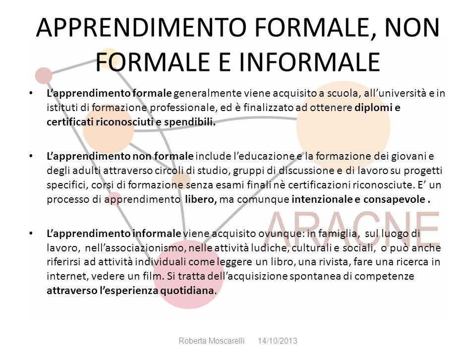 APPRENDIMENTO FORMALE, NON FORMALE E INFORMALE