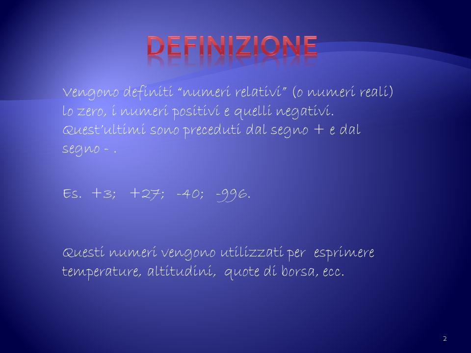 Definizione Vengono definiti numeri relativi (o numeri reali) lo zero, i numeri positivi e quelli negativi.