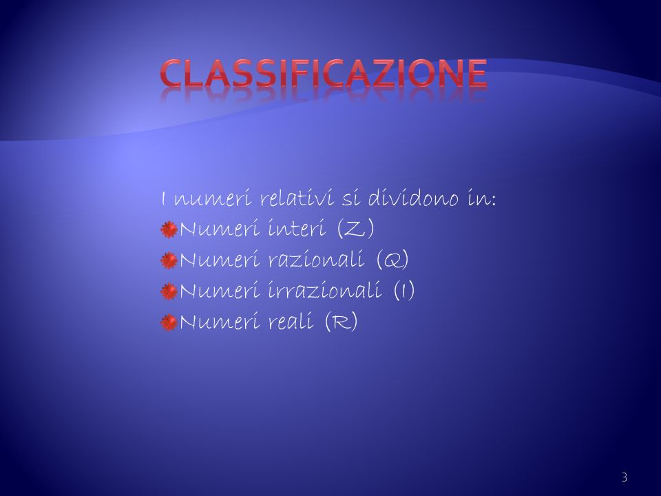 Classificazione I numeri relativi si dividono in: Numeri interi (Z)