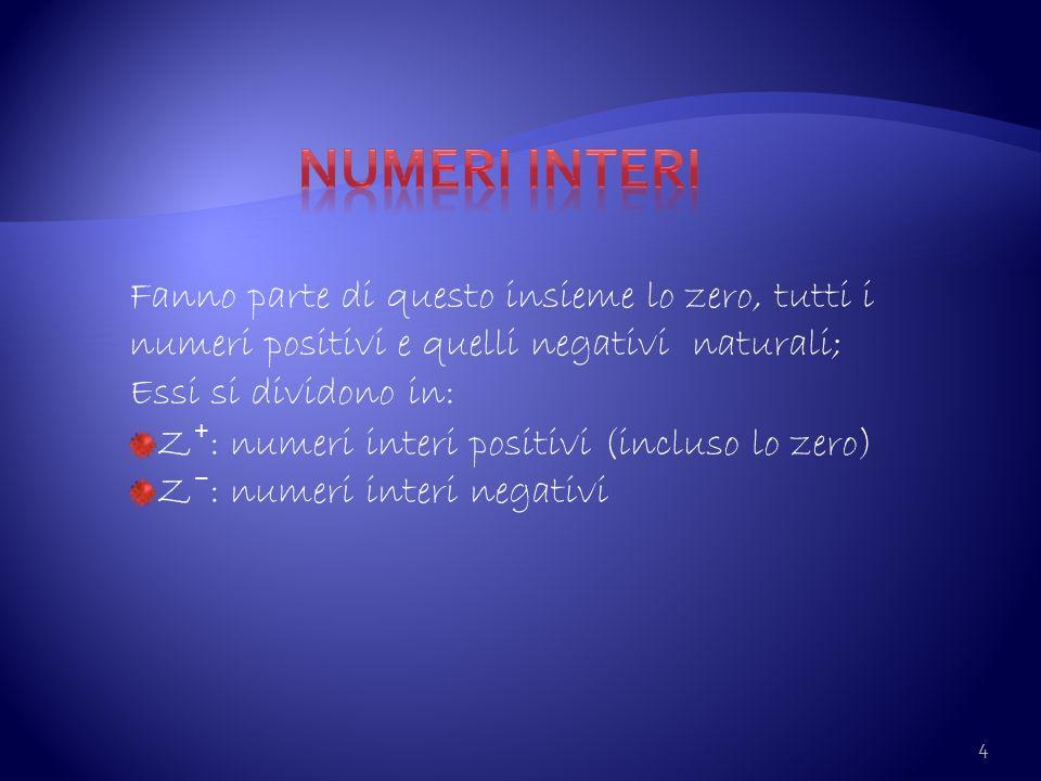 Numeri interi Fanno parte di questo insieme lo zero, tutti i numeri positivi e quelli negativi naturali;