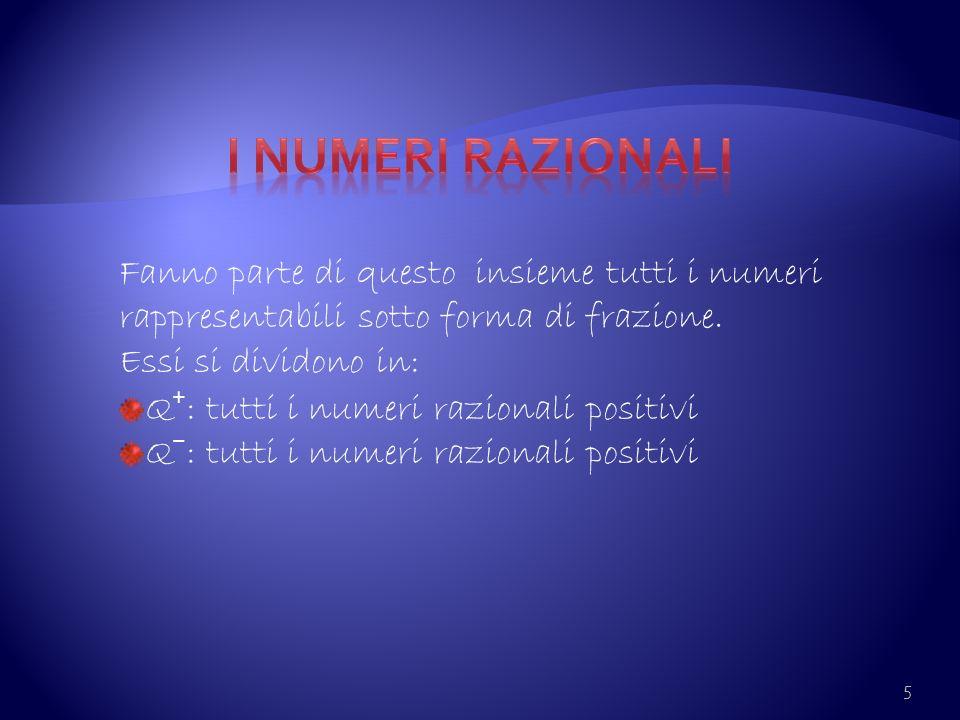 I numeri razionali Fanno parte di questo insieme tutti i numeri rappresentabili sotto forma di frazione.