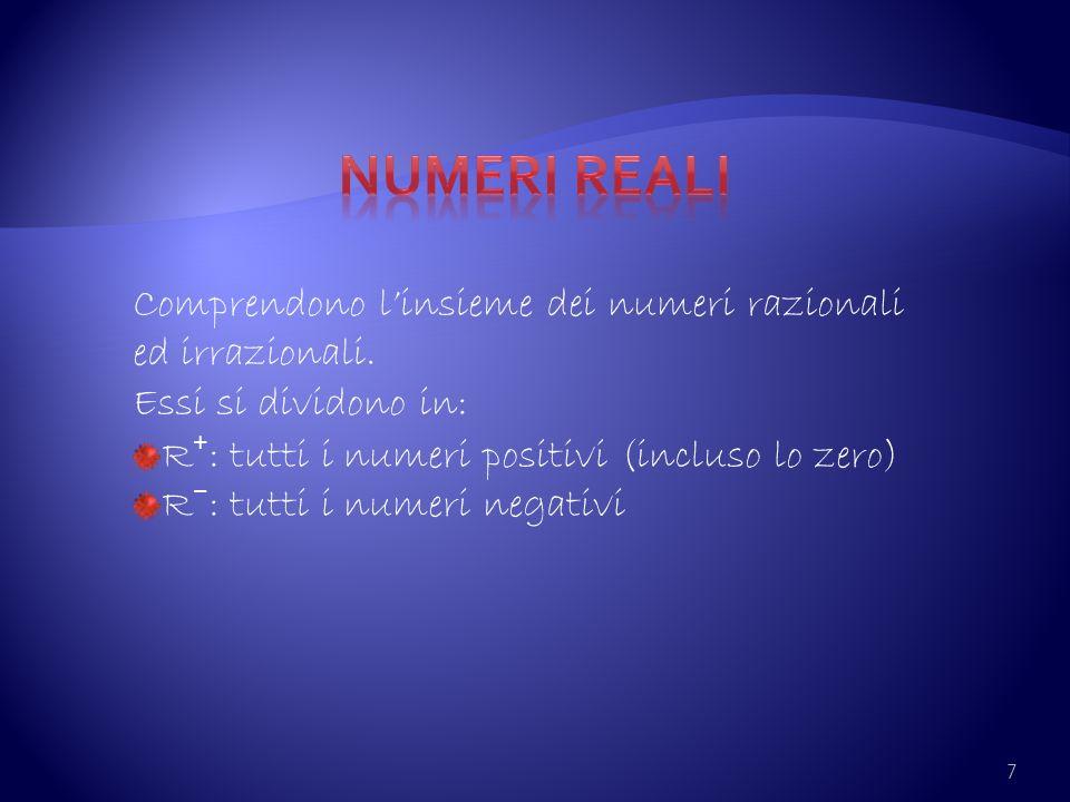 Numeri reali Comprendono l'insieme dei numeri razionali ed irrazionali. Essi si dividono in: R⁺: tutti i numeri positivi (incluso lo zero)