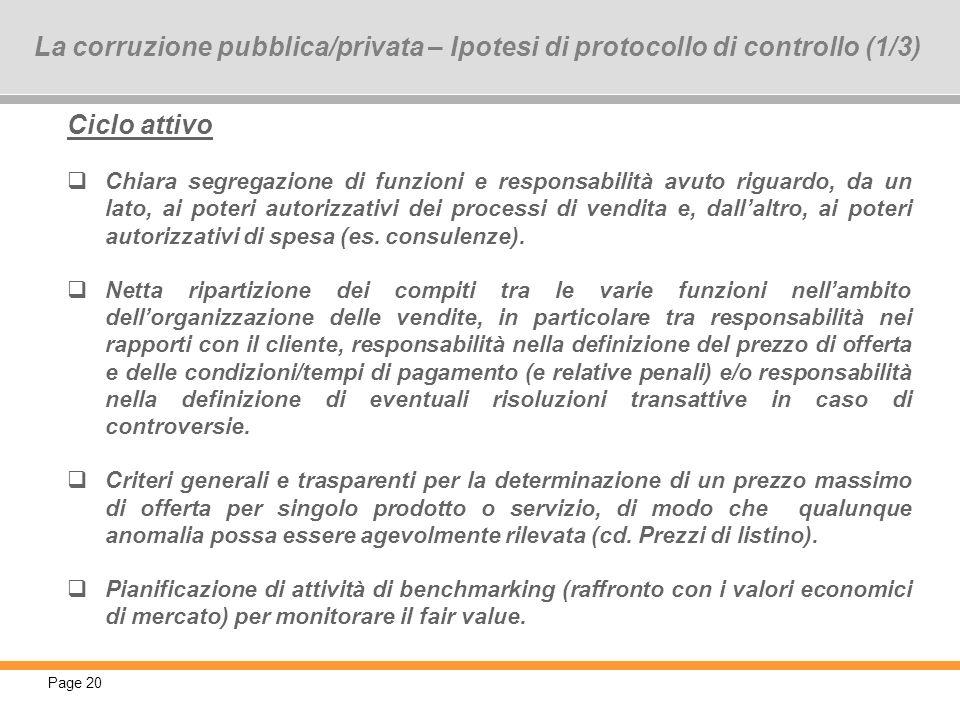La corruzione pubblica/privata – Ipotesi di protocollo di controllo (1/3)