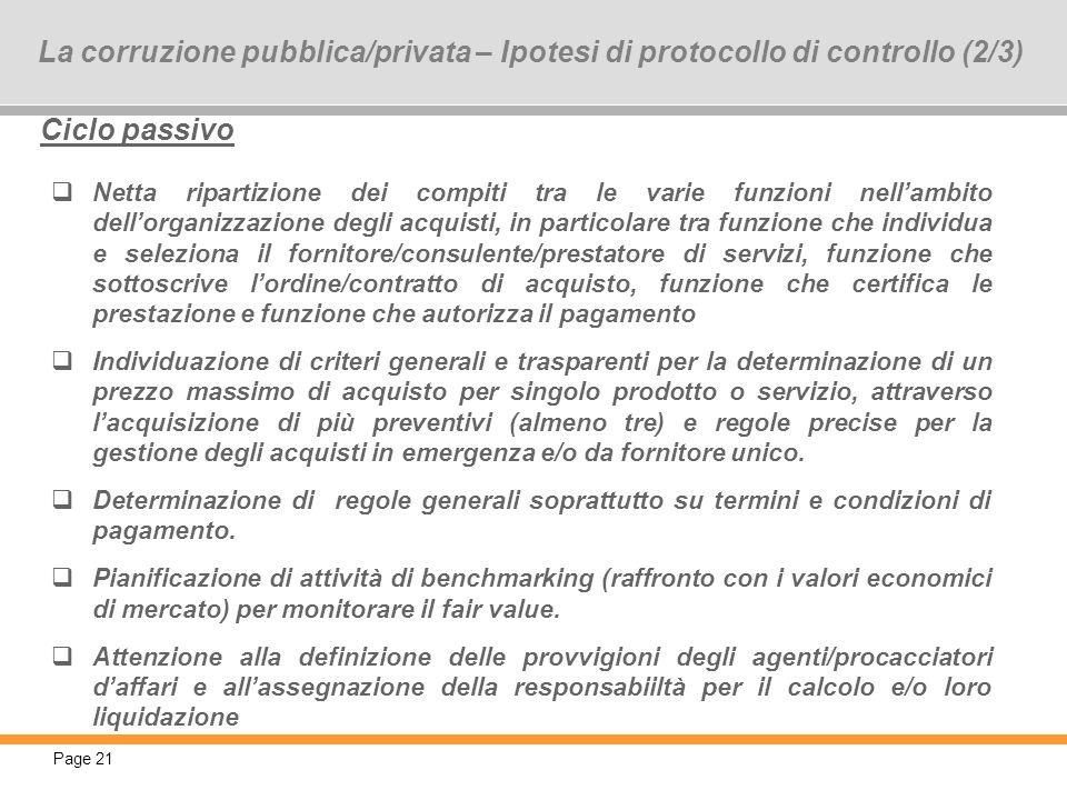 La corruzione pubblica/privata – Ipotesi di protocollo di controllo (2/3)