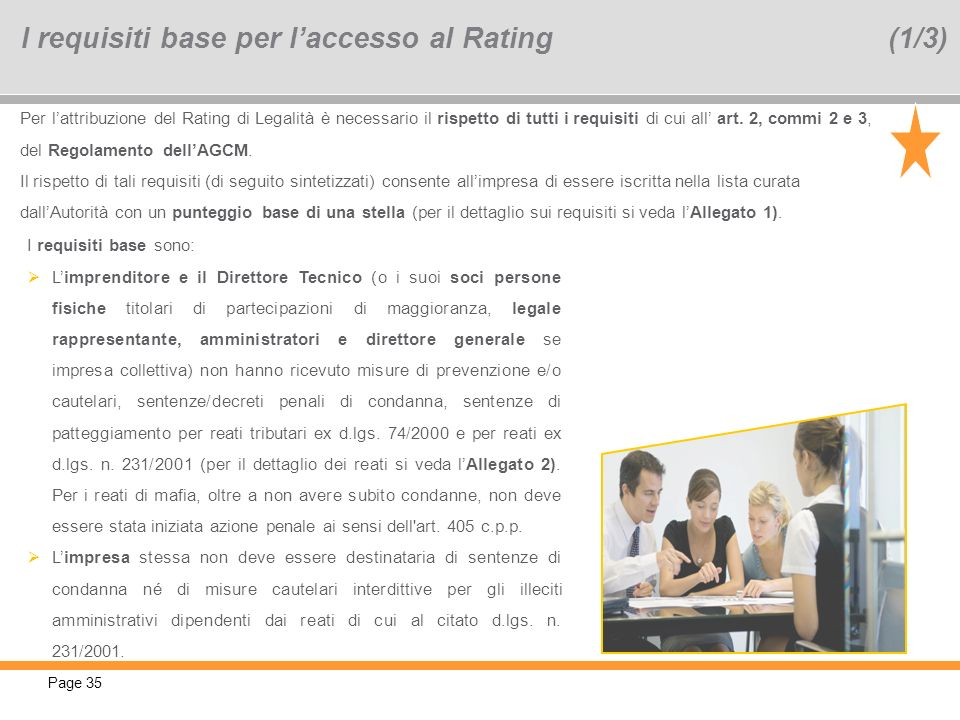 I requisiti base per l'accesso al Rating (1/3)