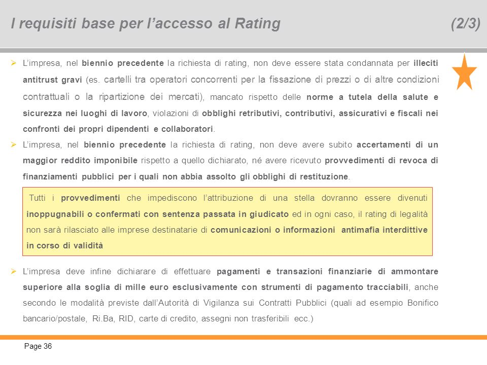 I requisiti base per l'accesso al Rating (2/3)
