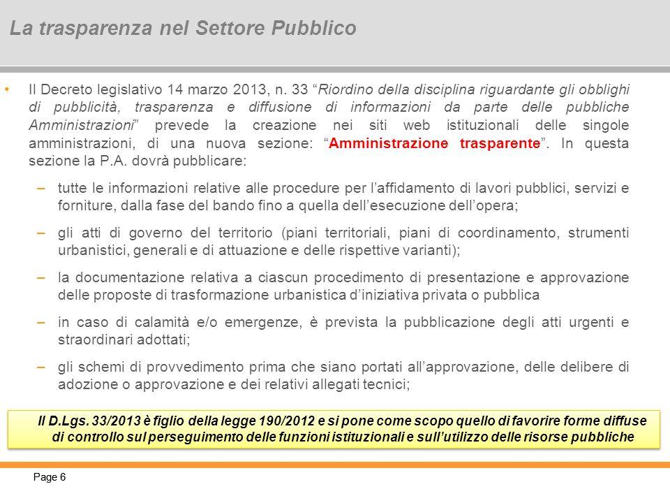 La trasparenza nel Settore Pubblico