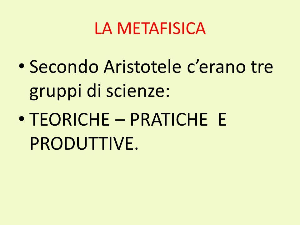 Secondo Aristotele c'erano tre gruppi di scienze: