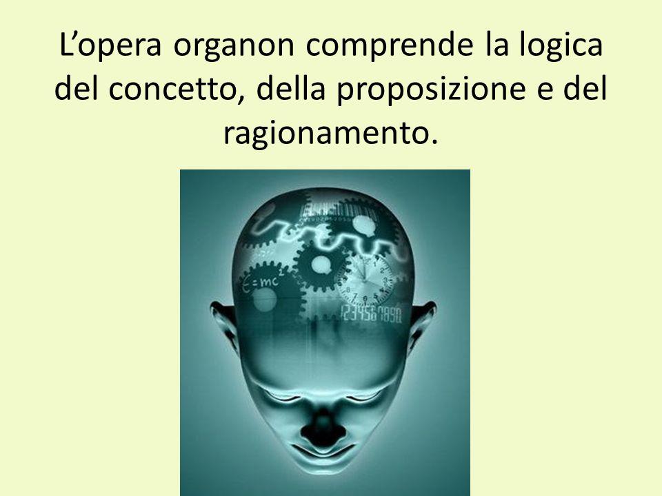 L'opera organon comprende la logica del concetto, della proposizione e del ragionamento.