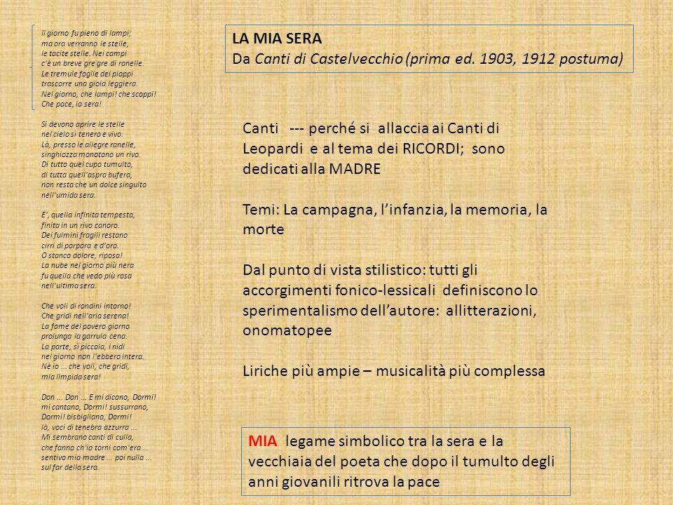 Da Canti di Castelvecchio (prima ed. 1903, 1912 postuma)